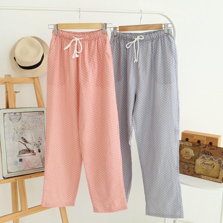 Spring Summer Women's Sleep Bottoms Pajamas Pants Trousers Polka Dot Women Lounge Pants Loose Cotton Home Pant Plus Size E1059 3