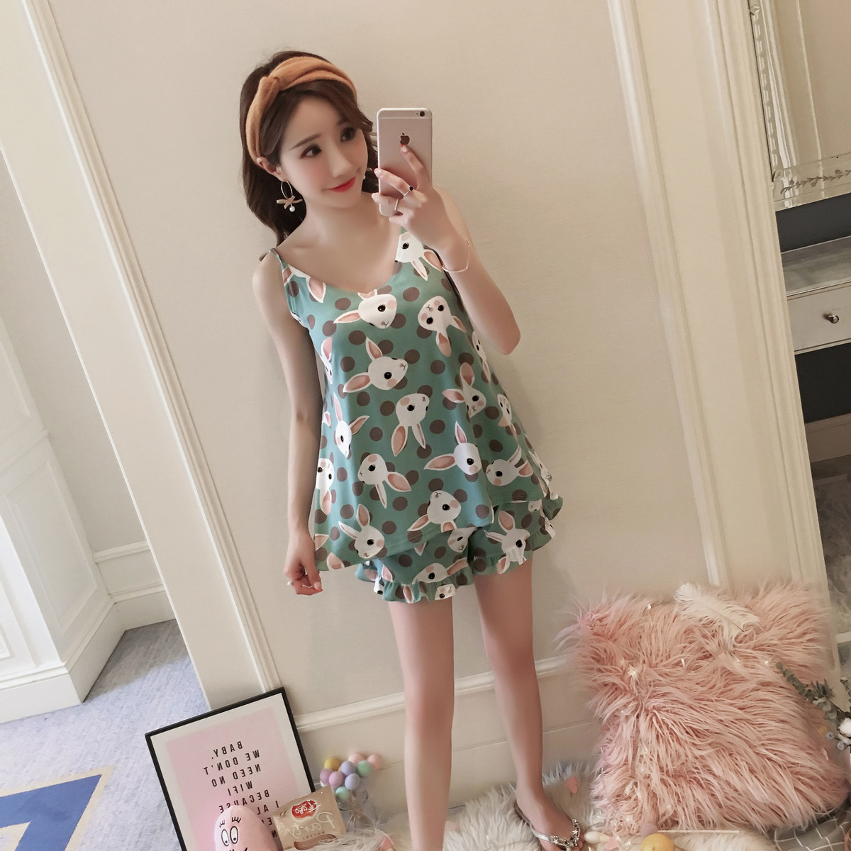 Pajama sets women short sleeved sleepwear Summer Thin Sweet Green Rabbit Suit Maam Camisole Pyjamas family clothes matching
