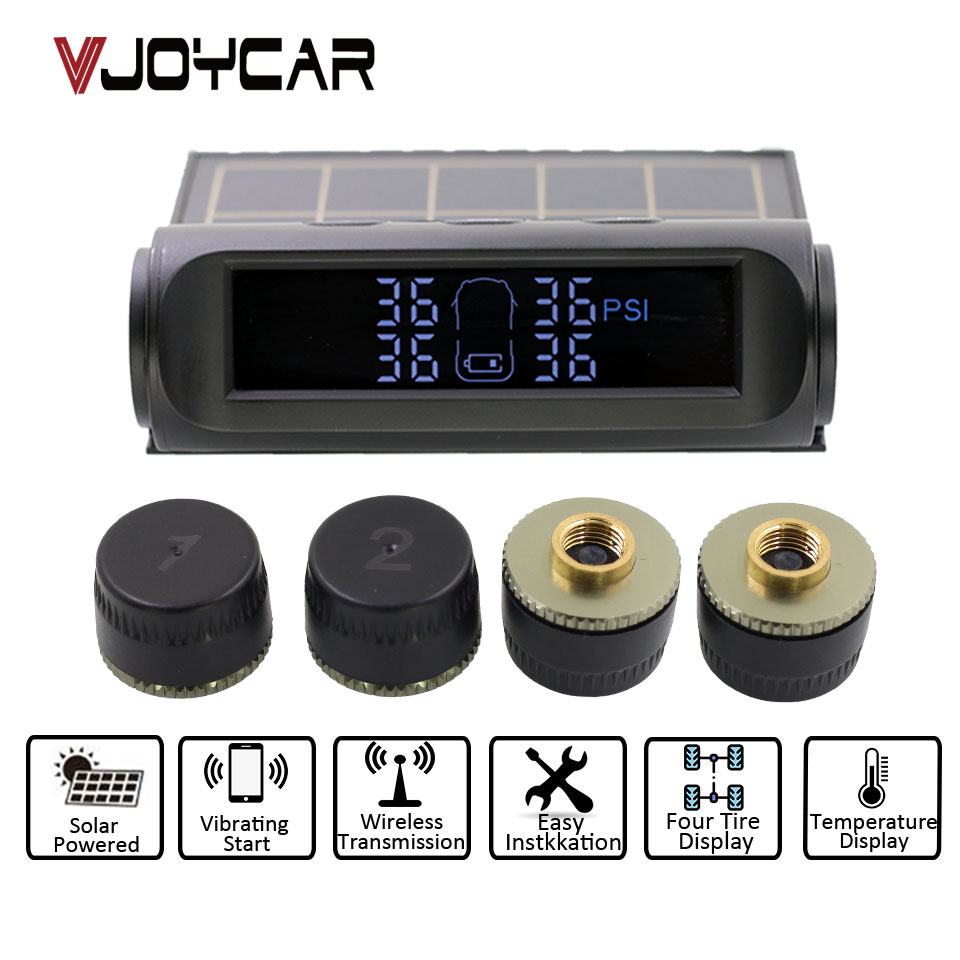 VJOYCAR T900 Smart Car TPMS Tire Pressure Monitoring System cigarette lighter Digital LCD Display Auto Security Alarm Systems tpms car tire pressure monitoring system alarm cigarette lighter digital lcd display auto security electronics external sensor