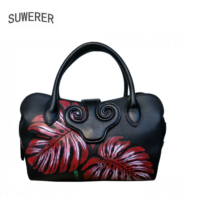 SUWERER New Superior cowhide genuine leather women handbags Color printing luxury handbags