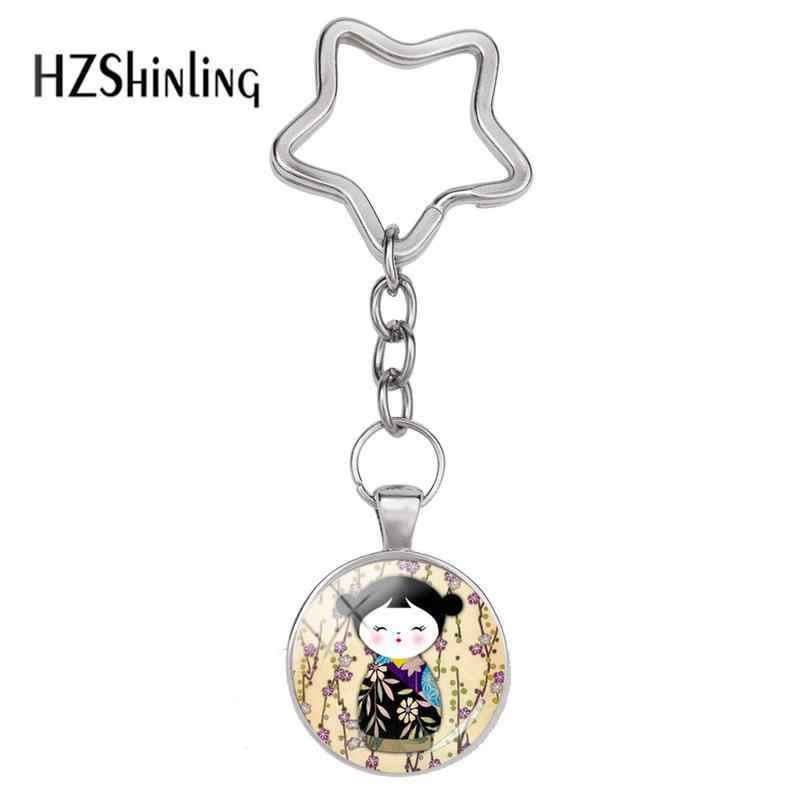 2018 moda japonês kokeshi estrela keyring o quimono boneca chaveiro de vidro cabochão pingente jóias wristlet chaveiros para mulher