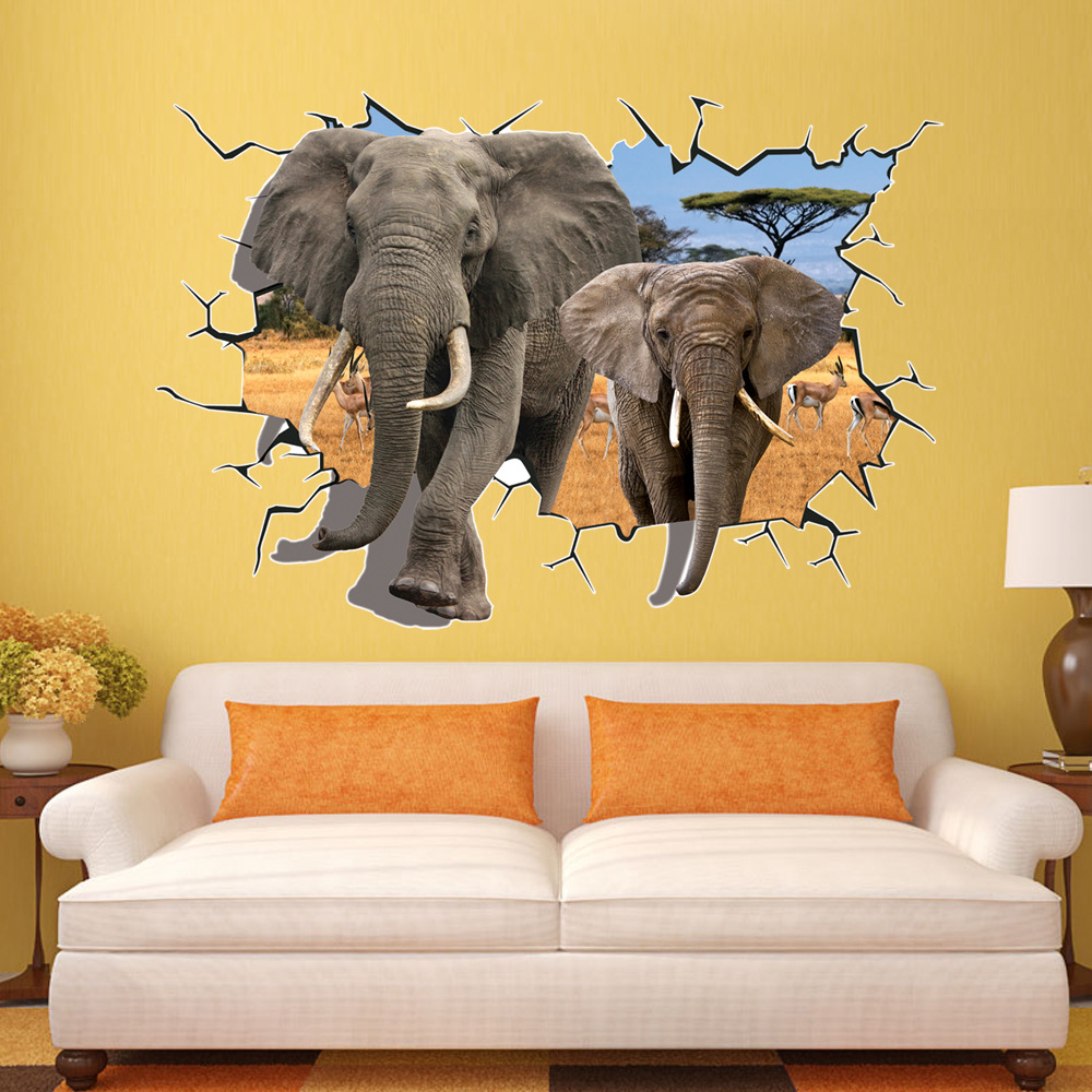 Baby Elephant 3D Wall Art Autocollant Mural Decal Poster Wildlife For Kids Room GL5