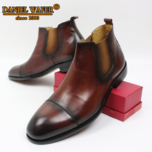 LUXURY LEATHER SHOES MEN ANKLE BOOTS CHELSEA SHOES MEN BOOTS BRITAIN STYLE CAP TOE SLIP ON BROWN BLACK SHOES MEN LEATHER SHOES pinsv british style mens chelsea boots elegant slip on men ankle boots pu leather trendy casual shoes men size 39 44