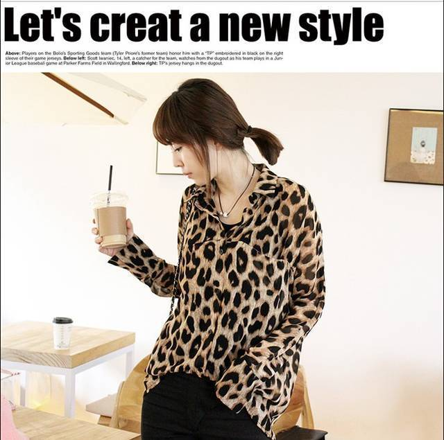1c0c0ad6 New 2017 Women Chiffon Sexy Leopard Print Shirt Top Button Blouse S ...
