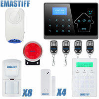 GSM IOS Android APP Touch Screen Keypad+LCD display 10 Wireless Zone GSM PSTN Home Security English French Voice Alarm System