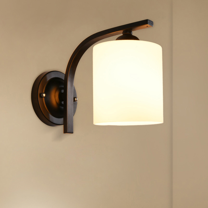 ФОТО European Modern Fashion LED Glass Lamp 220V Hotel Bedroom Bedside Lamp E27 Mirror Front Corridor Wall Lamp Button Type Aluminum