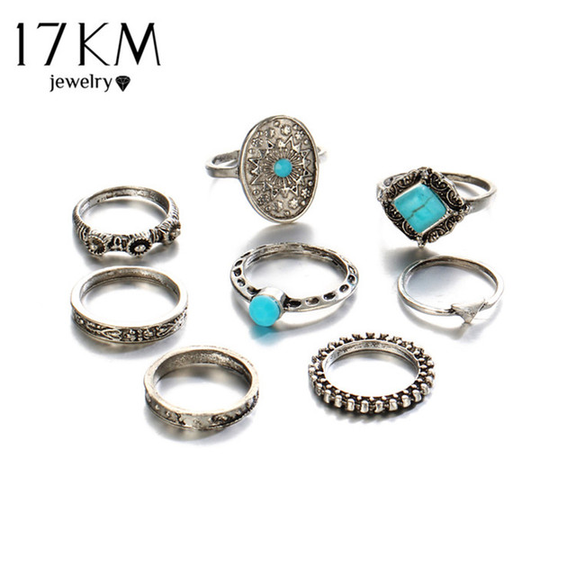 Geometric Stone Oval Midi Ring Sets Boho Beach Anillos Finger knuckle Rings for Women Man Punk Style Jewellery Accessory