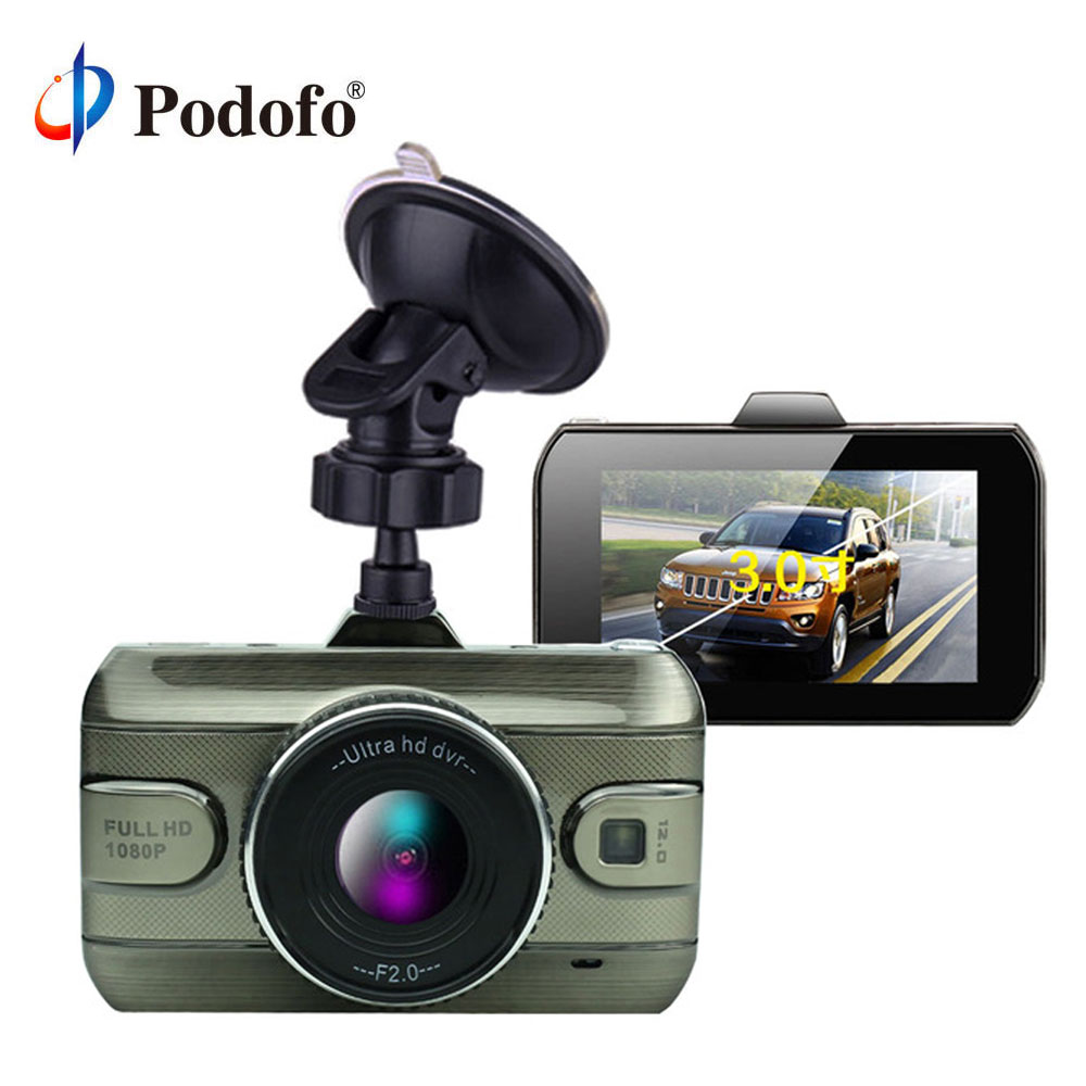 Podofo 2017 Nuevo 3 pulgadas Cámara Dvr Full HD1080P Video bucle grabador Dash Cam visión nocturna cámara DashCam