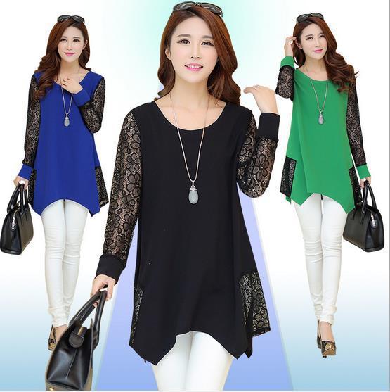 AREALNA korean autumn women   Blouses   thin Long sleeves lace stitching chiffon   blouse     shirt   women tops long   Shirts   plus size 5XL