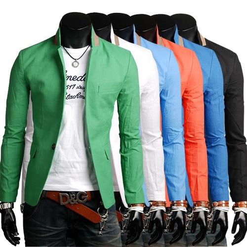 Blazer Men Casual-Clothes Collar-Design Hemp-Suit Single-Button Multi-Color-Series Contrast-Color
