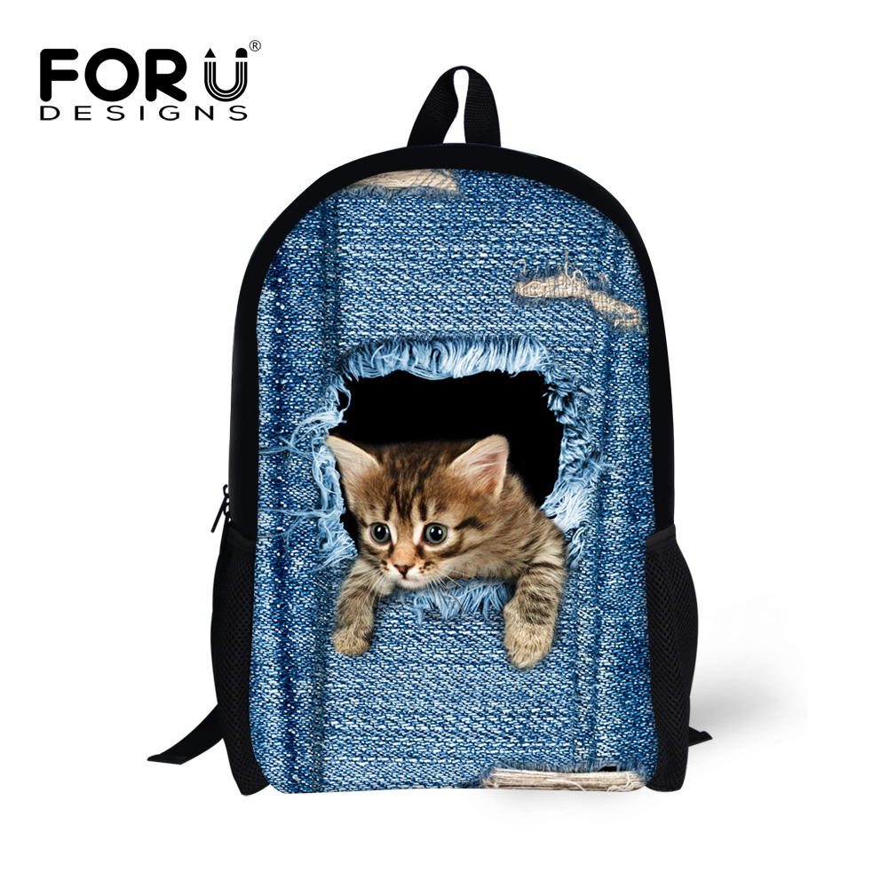 FORUDESIGNS School Backpacks for Teenage Girls Cute Denim Cat Printing Women Casual Backpack Kids School Daypack Travel Mochila