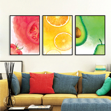 Watercolor Fruit Tomatoes Oranges Papaya Wall Art Canvas Painting Nordic Posters And Prints Pictures For Living Room Decor