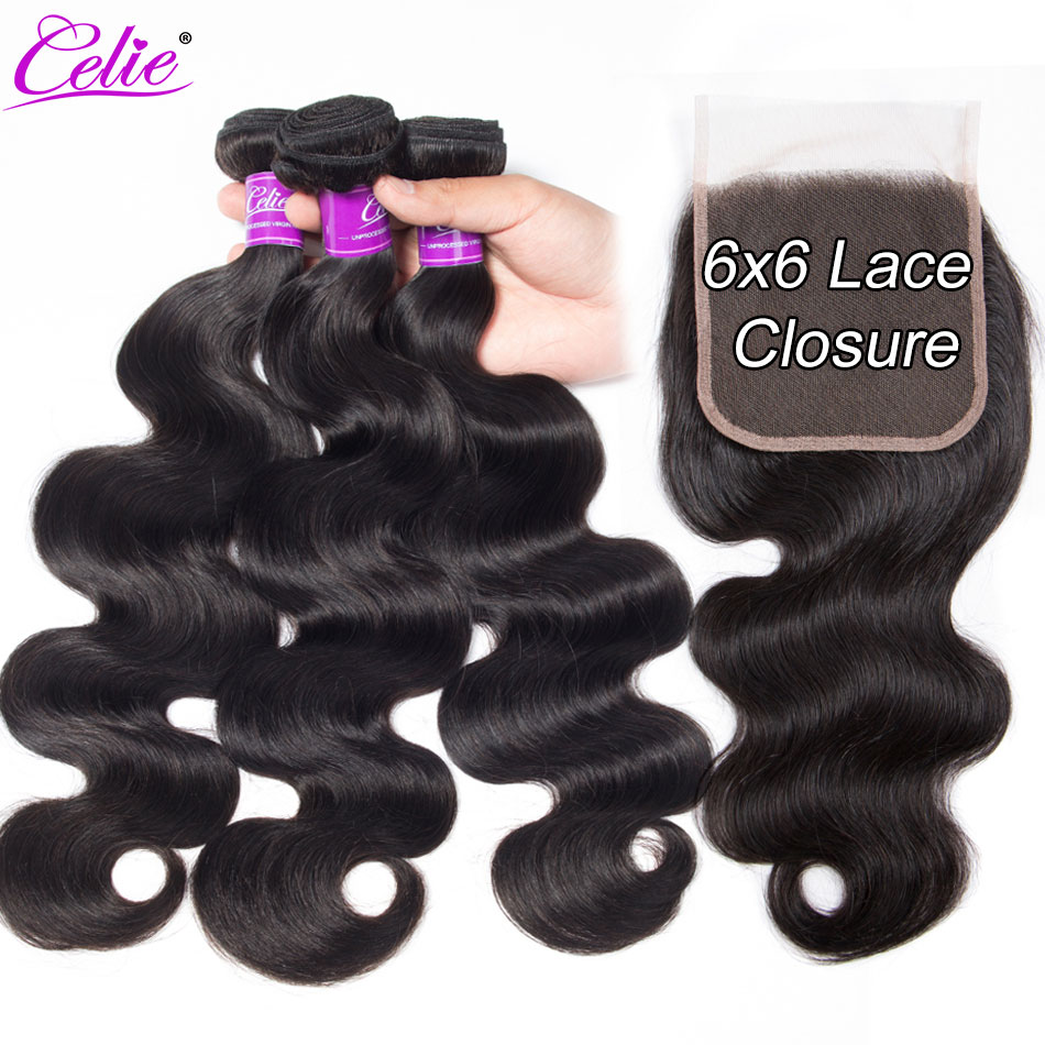 Celie Hair Brazilian Body Wave Bundles With Closure 6x6 Lace Closure With 3 Bundles 100% Remy Human Hair Bundles With Closure-in 3/4 Bundles with Closure from Hair Extensions & Wigs    1