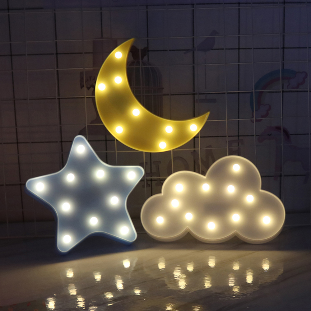 3D LED Night Light Cute Star Moon Cloud Design Wall Desktop Ornaments Kids Nursery Lamp Christmas Bedroom Decoration