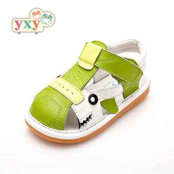 YXY 2019 summer squeaky natural leather kids baby boys girls prewalkers anti-slip hook&loop  animals children sandals shoes 1