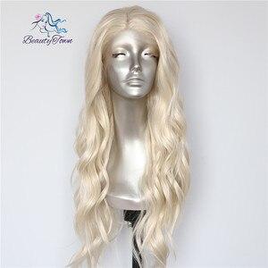 Image 4 - Красивые светлые бежевые натуральные волнистые термостойкие волосы BeautyTown для женщин, ежедневный макияж, Свадебная вечеринка, подарок, синтетические кружевные передние парики