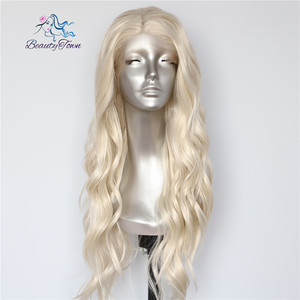 Image 4 - BeautyTown Blonde Beige Natural Water Wave Heat Resistant Hair Women Daily Makeup Wedding Party Gift Synthetic Lace Front Wigs