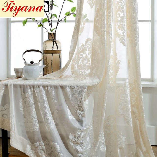 living room fancy curtains small space decorating ideas white flocked flower modern fan voile tulles for bedroom balcony cafe