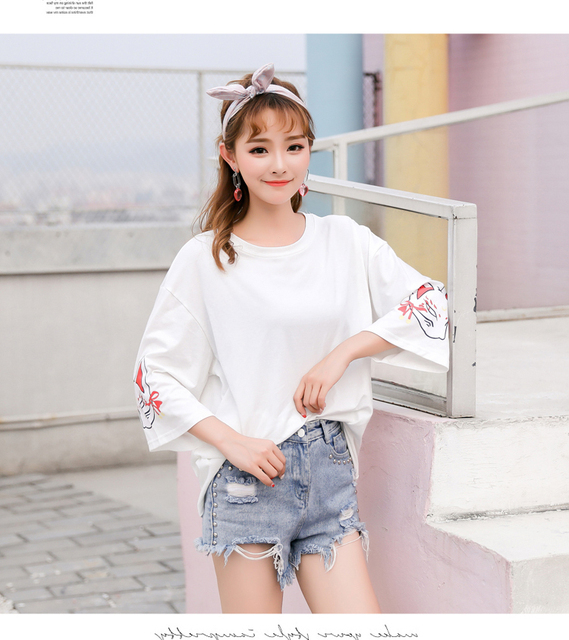 Harajuku Women T-shirt Fashion Hiphop Street Japanese Funny Cat Print Black Tops Female T Shirts Punk Funk Rock Seven Sleeve 3