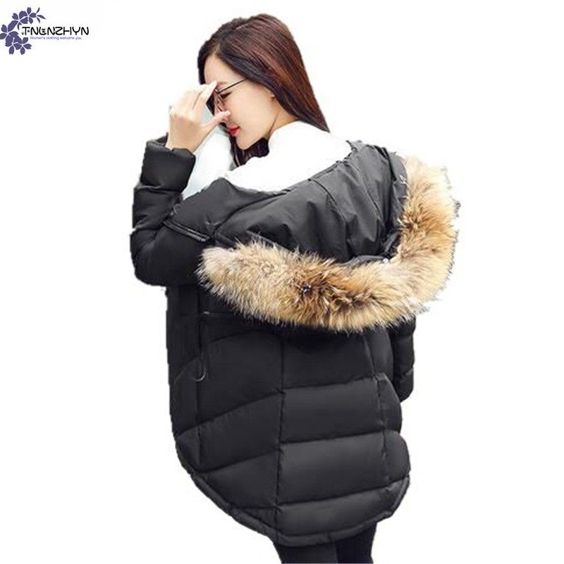 TNLNZHYN Women s clothing Cotton coat 2017 New Winter Fashion Big Yards Fur Collar Hooded Thickening
