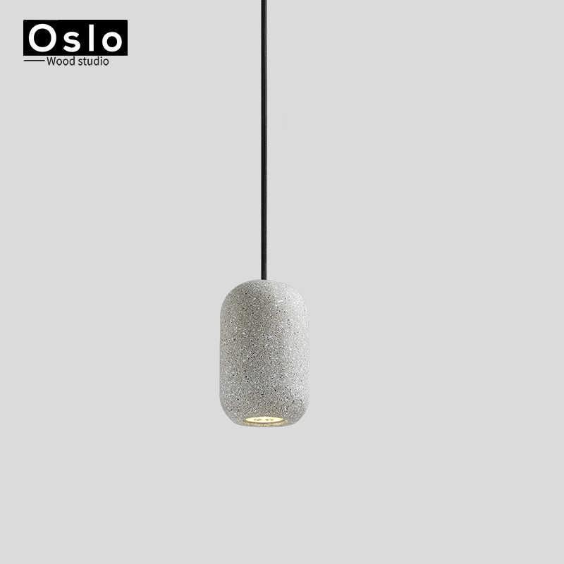 Винтажные маленькие серые бетонные подвесные светильники цементный материал лампа для лофт обеденная кухня кафе бар бетонная Подвесная лампа
