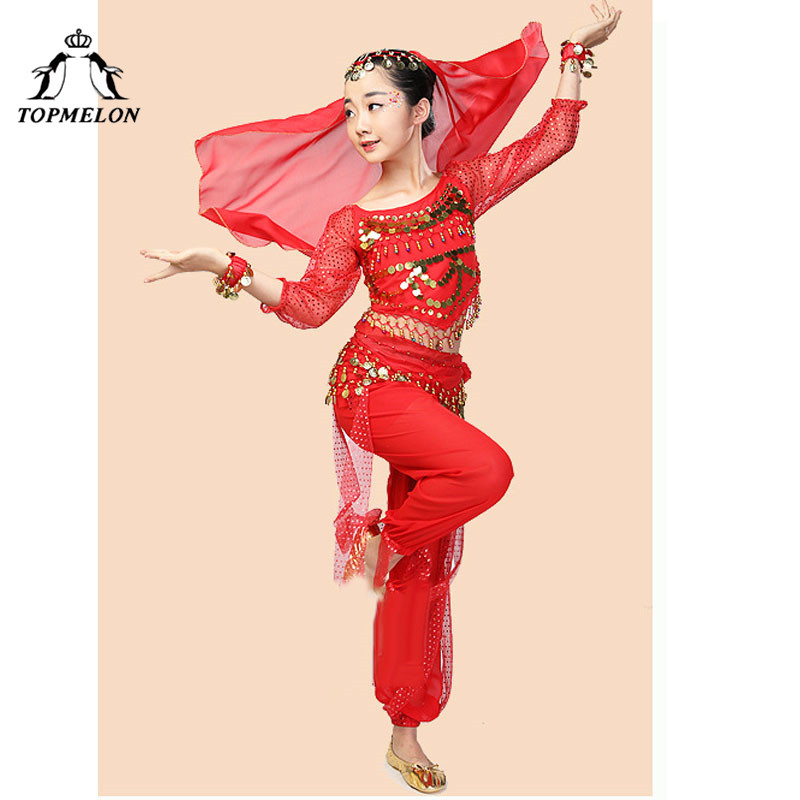 TOPMELON Chiffon Belly Dance Wear for Girls Red Purple Yellow Blue Belly Dancer Carnival Shows Practice Costume Set