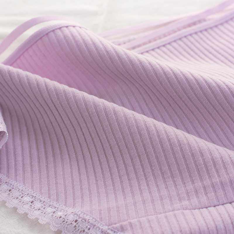 女性の綿のパンティー女性のストライプ通気性ブリーフセクシーなレース飾る下着女性プラスサイズ L XL XXL ランジェリー下着