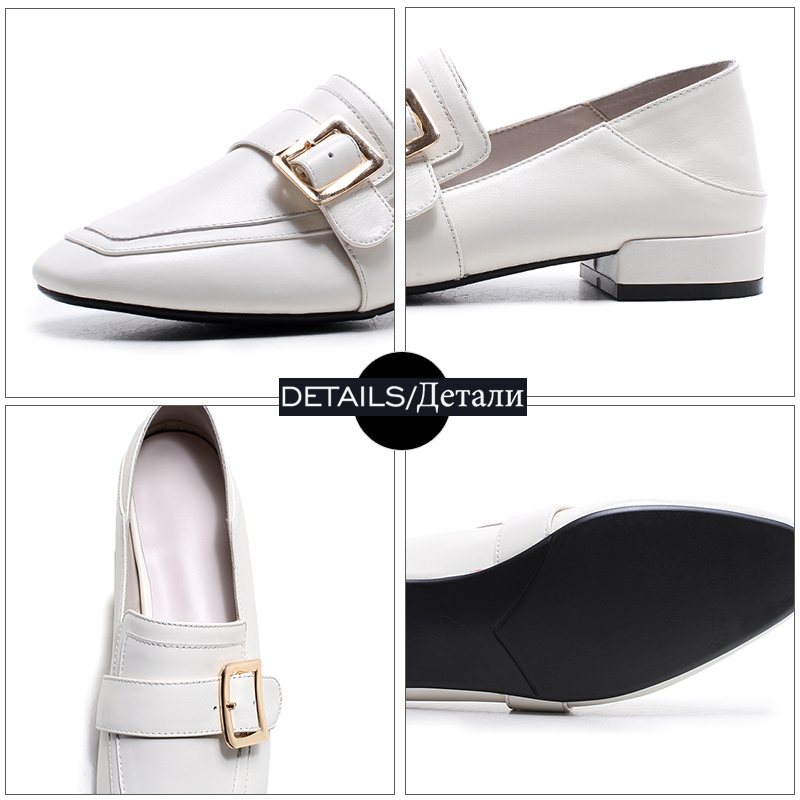 Nuevo Del Mujeres Calzado De Casual Dedo Sandalias Pie Planos Las Cuero 2019 Cuadrado Mujer Genuino Negro Primavera Moda white Zapatos Mocasines Wetkiss tHXwzX