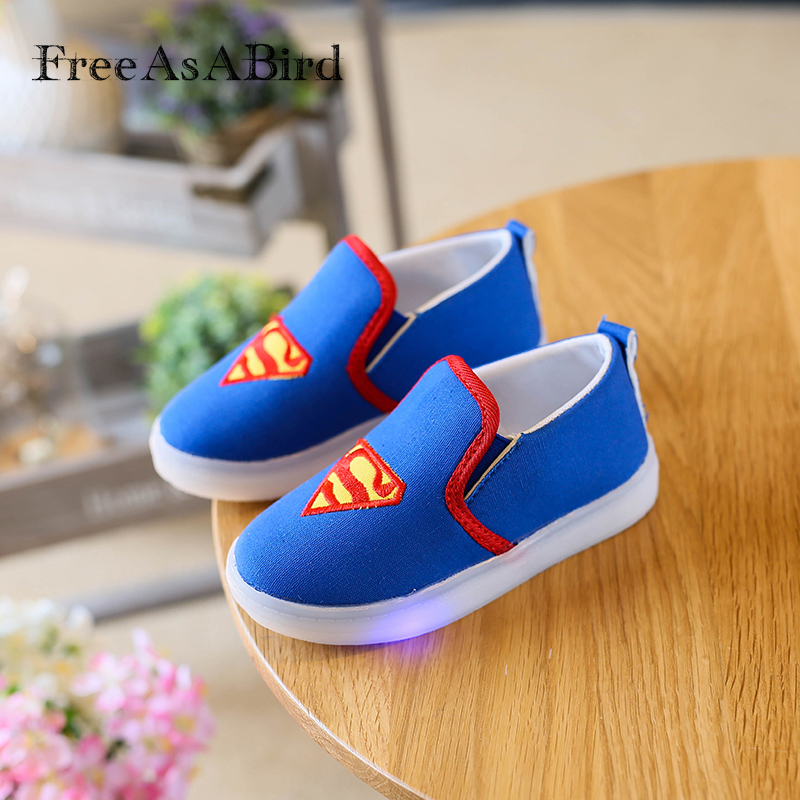 Factory sales Children Shoes Spring Spiderman Canvas Flasher Fashion Sports Sneakers Kids Sport Boys Sneakers LED Light Shoes