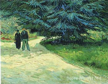 paintings of Public Garden with Couple and Blue Fir Tree Vincent Van Gogh artwork Oil on canvas High quality Hand painted