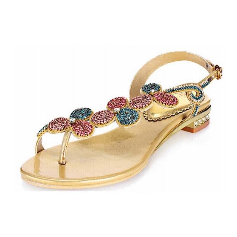 Hot 2018 marque d'été Style femmes or gladiateur sandales strass chaussures femme plat plage string sandales tongs Sandalias