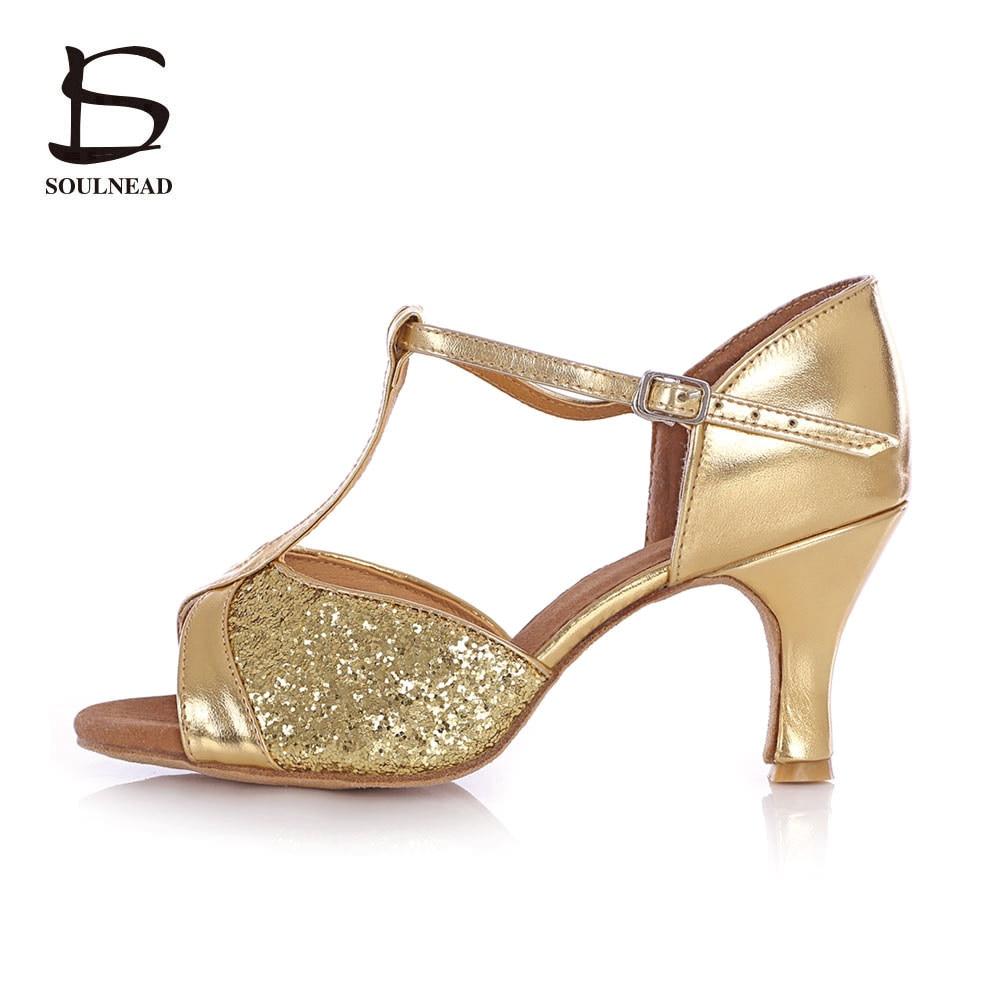 Latin Dance Shoes Woman Adult Soft Bottom High Heel Square Dance Latin Shoe Leather Ballroom Shoes Sport Sneaker Sandalias Mujer