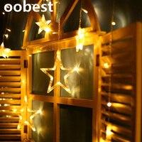 Oobest 2M Christmas Lights AC 220V EU Romantic Fairy Star LED Curtain String Lighting For Holiday