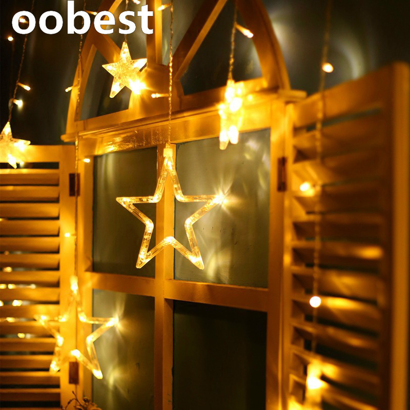 oobest 2M Christmas Lights AC 220V EU Romantic Fairy Star LED Curtain String Lighting For Holiday Wedding Party Decoration wenger w29 10br