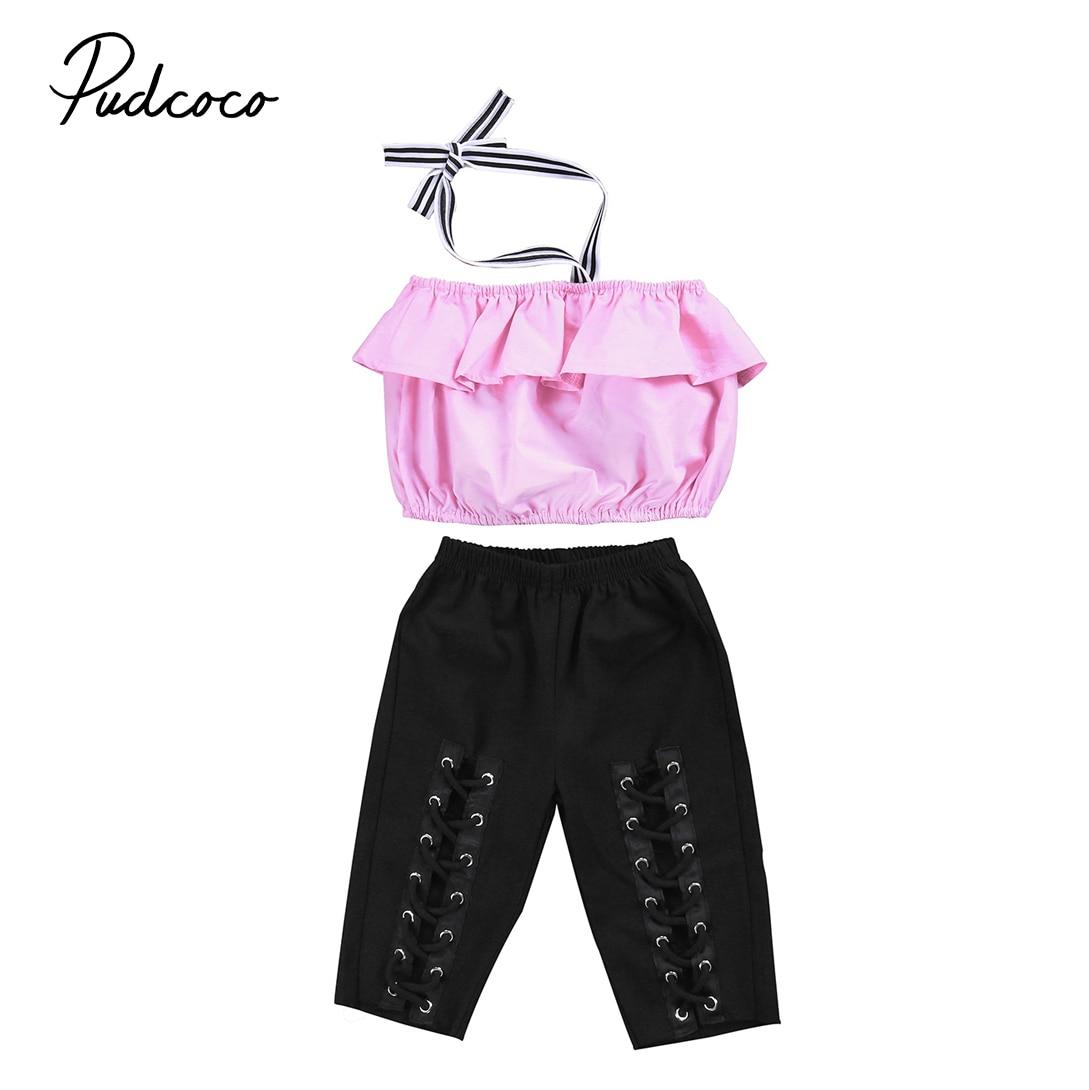 Pudcoco Adorable Hot Toddler Kids Girls Off Shoulder Halter Tops Elastic Pants Outfits Clothes Set 1-6Yrs