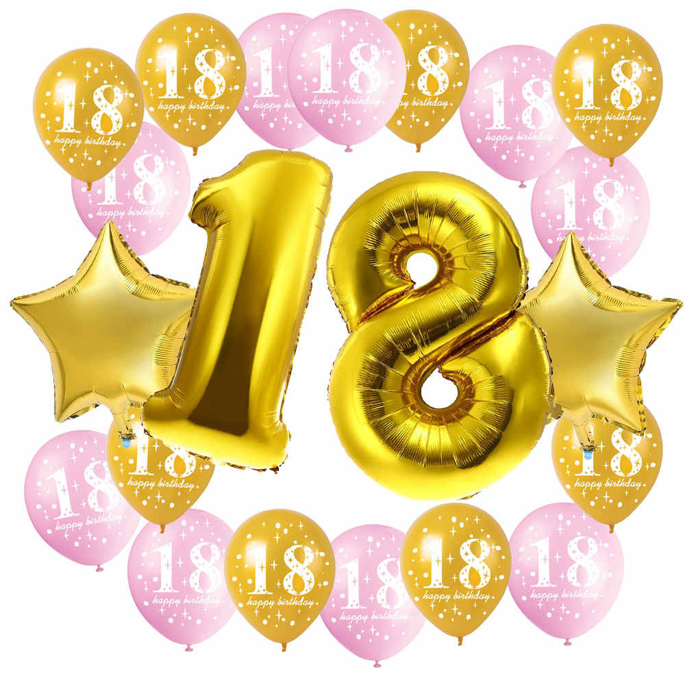 ZLJQ 18th Birthday Party Decorations Kit Number 18 Balloon Mylar Foil Black Gold Pink