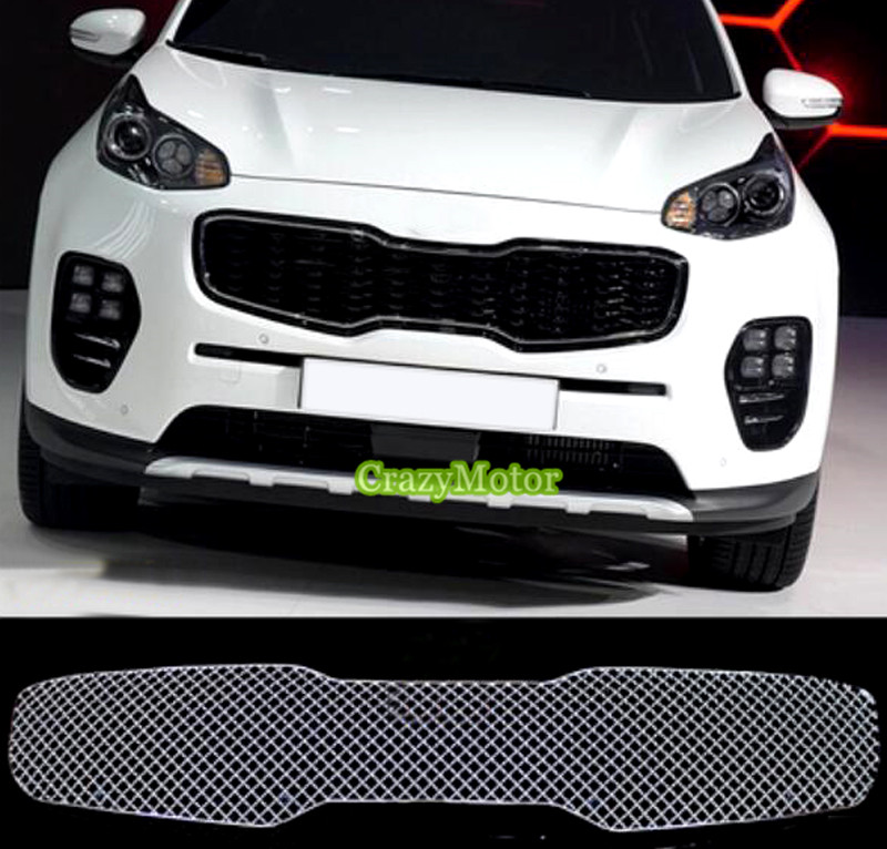 For KIA Sportage KX5 2016 2017 Front Grille Grill Bezel Honeycomb Mesh Cover car styling front car bumper mesh grille for 2014 chery tiggo 5 car front mesh grill