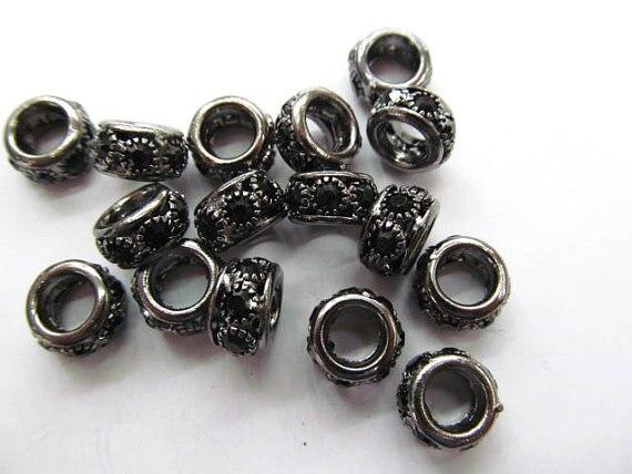 Grand trou-100 pièces 8 10 12mm Micro Pave cristal entretoise laiton européen perle Rondelle Pinwheel Buttone argent or noir faisant Fi