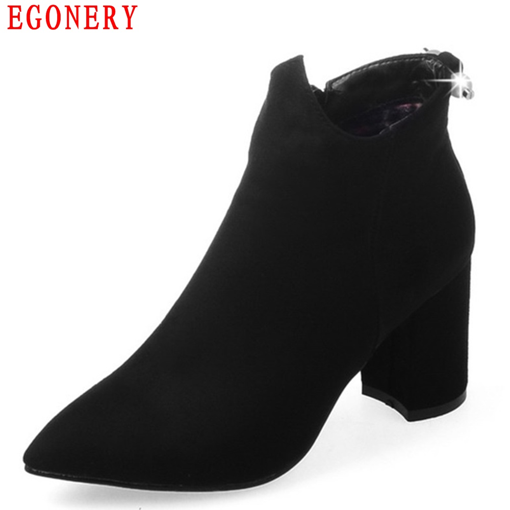 EGONERY Quality Pointed Toe Ankle Thick High Heels Womens Boots Spring Autumn Suede Nubuck Zipper Ladies Shoes Plus Size new spring autumn women shoes pointed toe high quality brand fashion ol dress womens flats ladies shoes black blue pink gray