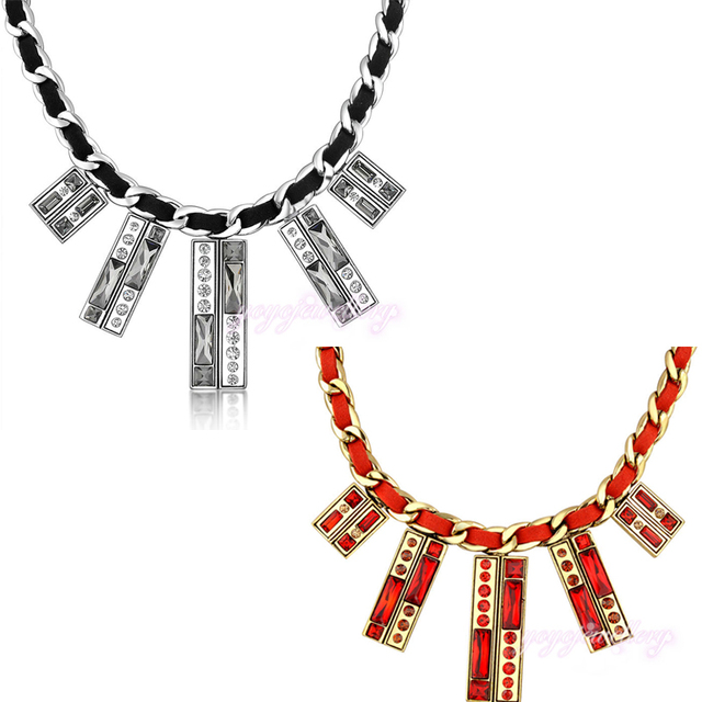 2017 Fashion Choker Necklace Black Leather Red Leather Chain  Gold Plated Women Jewellery CN95 CN96