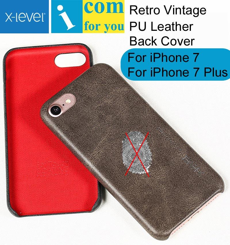 X-Уровень Чехол Для iPhone 7/7 Плюс Ретро Винтаж Х Уровень Кожа Назад Защитный Shell Для iPhone 7 Plus