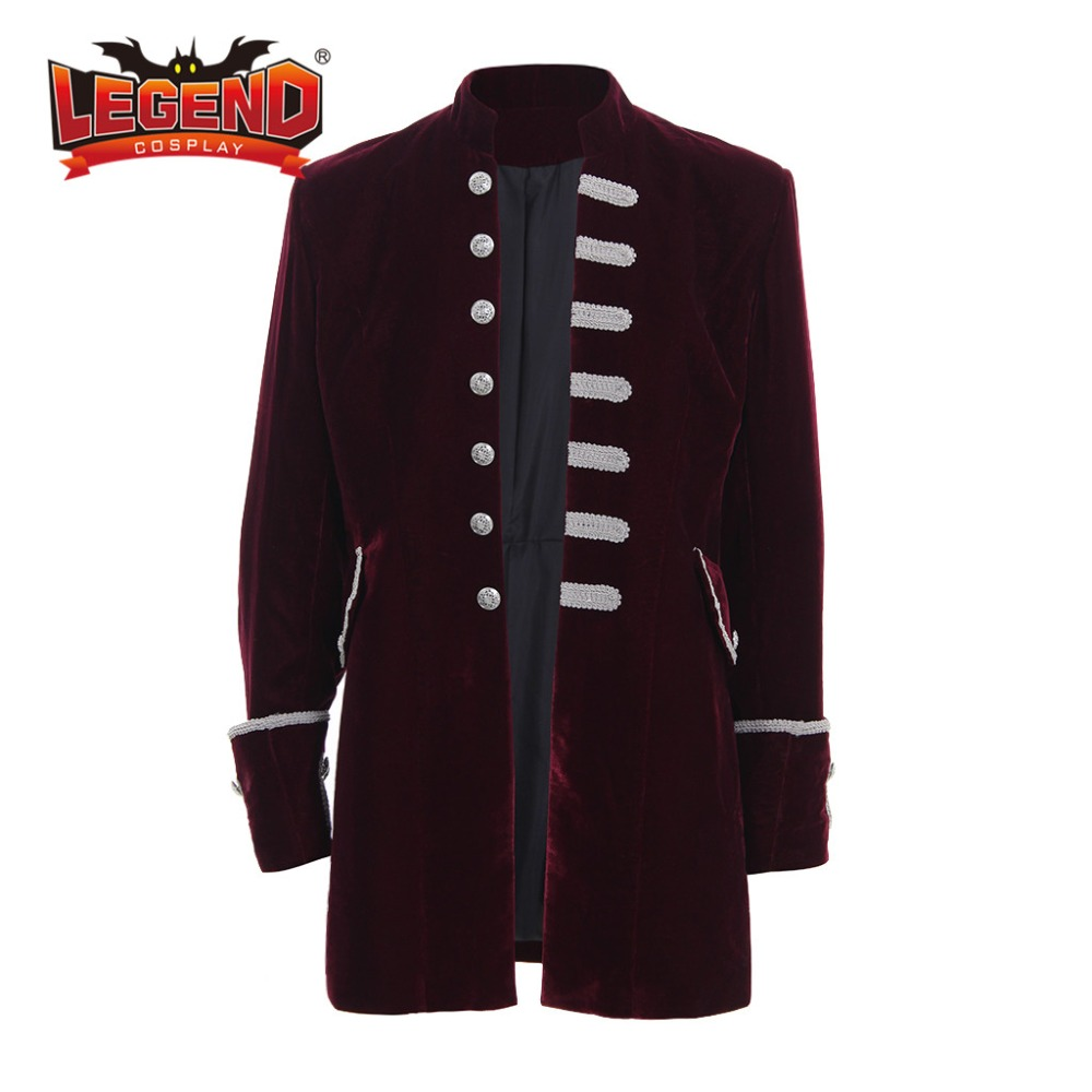 Men Steampunk Costume Brocade Jacket Vintage Victorian Coat Top Male Vintage Cosplay velvet Jacket Outfit Gothic Steampunk