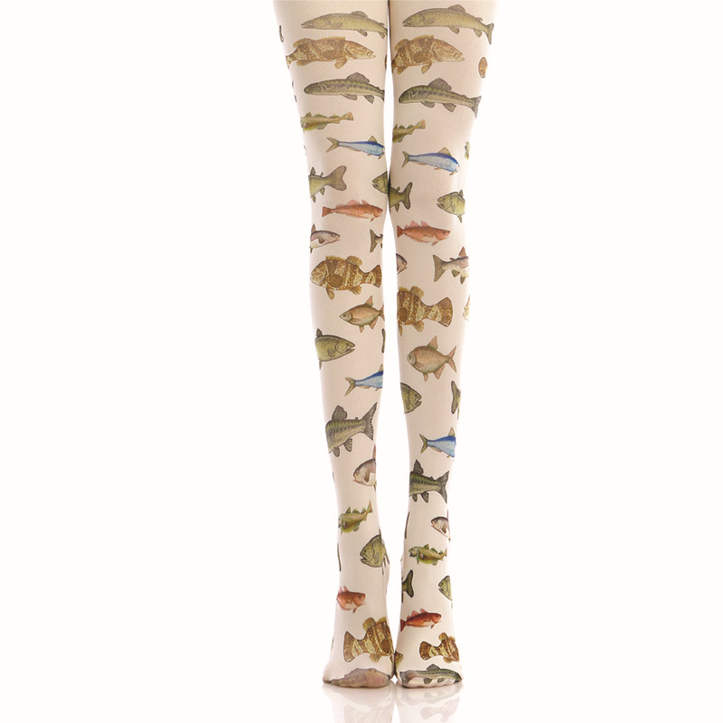 Color Tropical Fish Print Pantyhose Bottoming