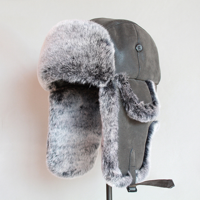 Bomber Hats Winter Men Warm Russian Ushanka Hat with Ear Flap Pu Leather  Fur Trapper Cap  Earflap 1