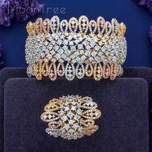 MoonTree Conjunto de joyería de lujo para mujer, diseño especial de lujo, Circonia cúbica Super AAA, brazalete de compromiso y anillo