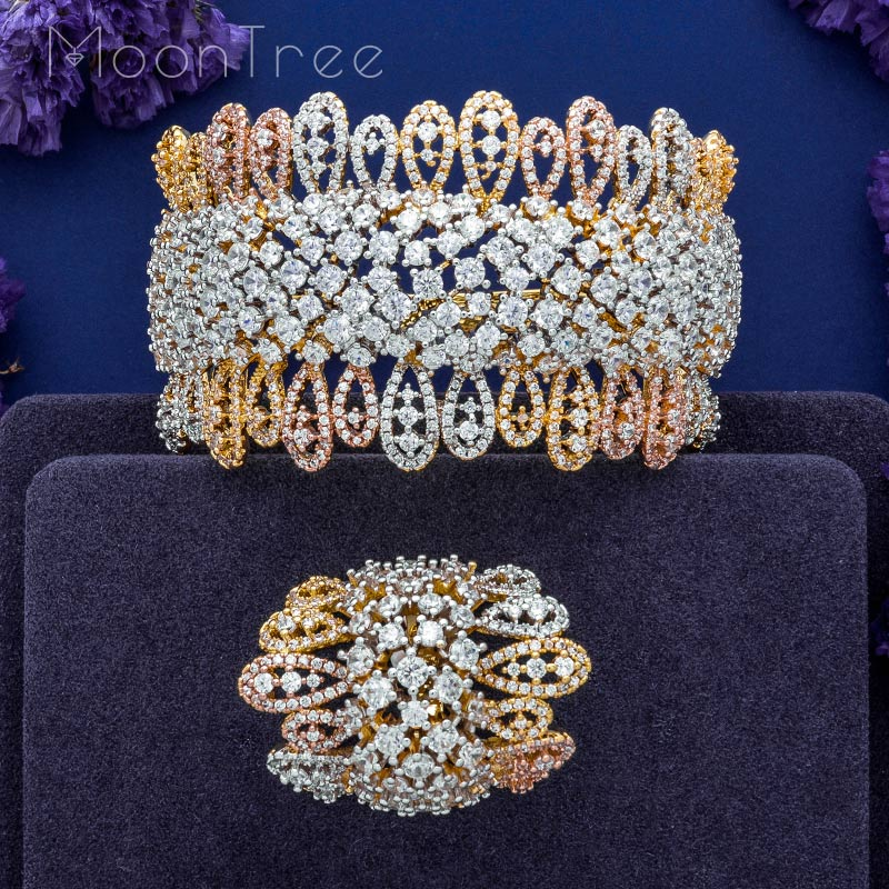 MoonTree Luxury Special Design Luxury Super AAA Cubic Zirconia Women Engagement Bangle And Ring Jewelry Set цена