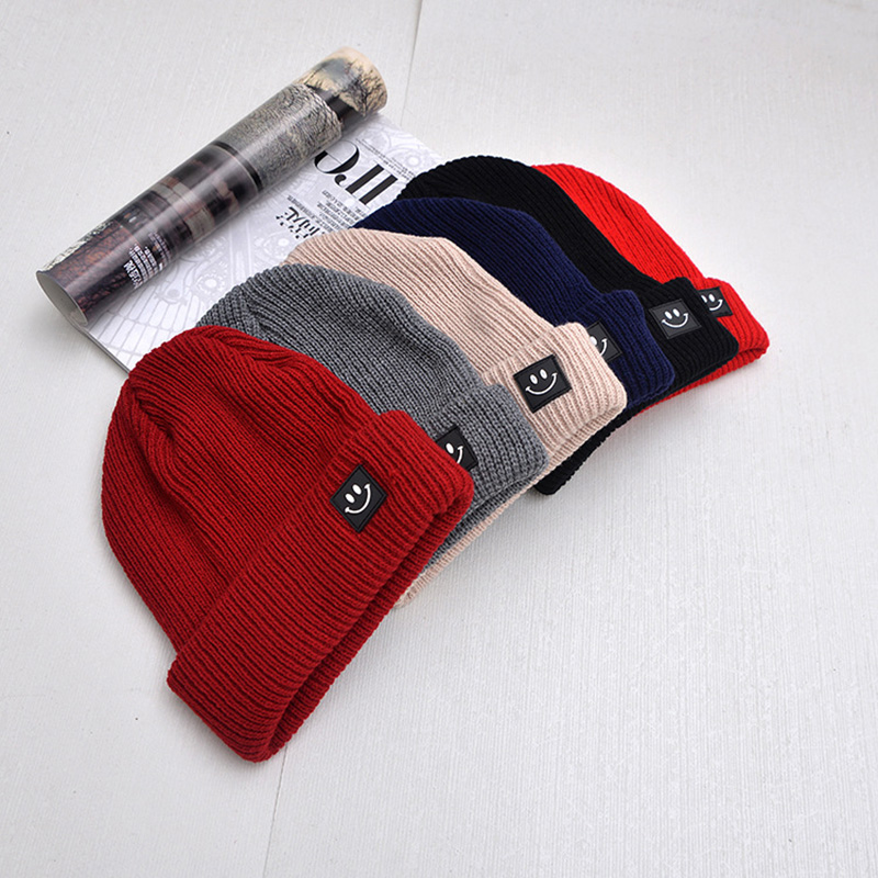 Cute Smile Crochet Knit Cap Beanie 2019 Autumn New Solid Warm Skullies Beanies Caps Female Knitted Hat Ladies Girls Winter Hats 5