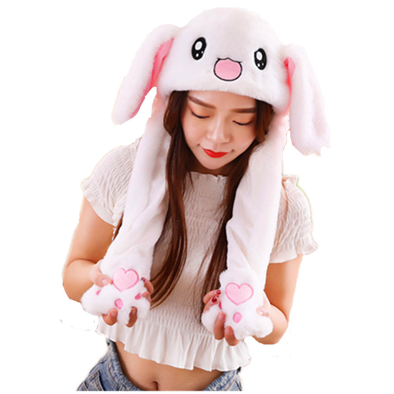 Rabbit white Cartoon Animal Plush Dynamic Hat Children's Winter Warm Cap Combined Scarf and Glove