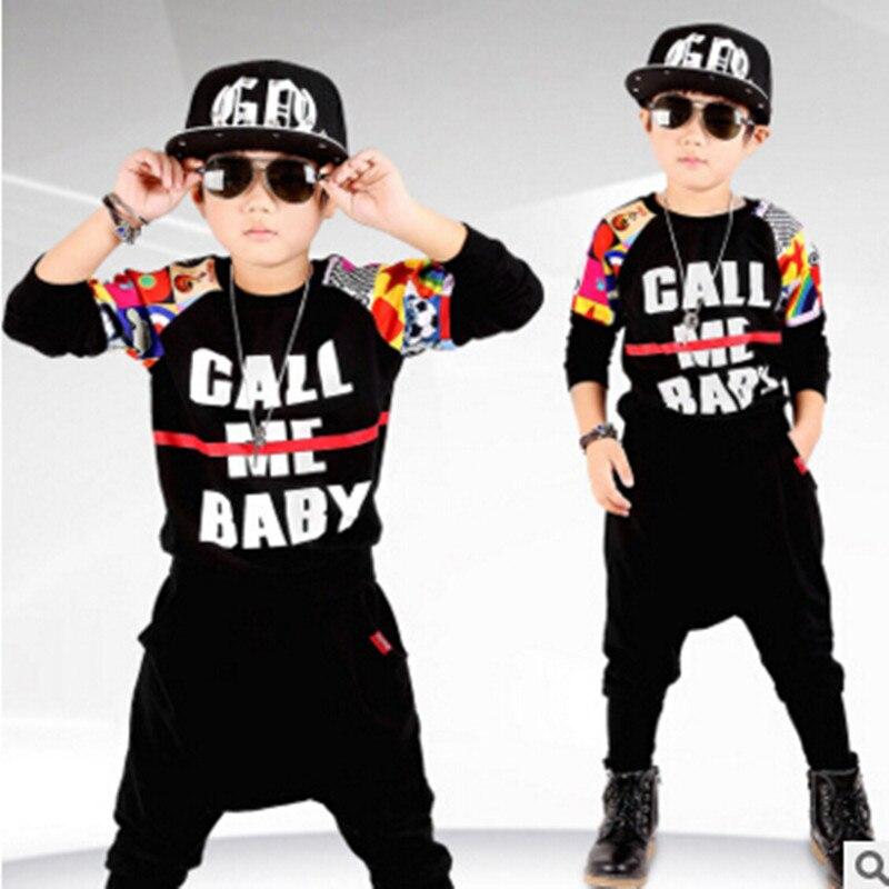 Новый детская Одежда Устанавливает Цветок Рукав Буквы 3 D Печать тонкие Дети Мальчик Черный 100% Хлопок Весна Осень Мода Спортивная костюм