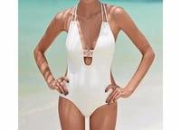 One Piece Plus Size Swimsuit 2016 New Push Up Swimwear Retro White Black Solid Bathing Suit